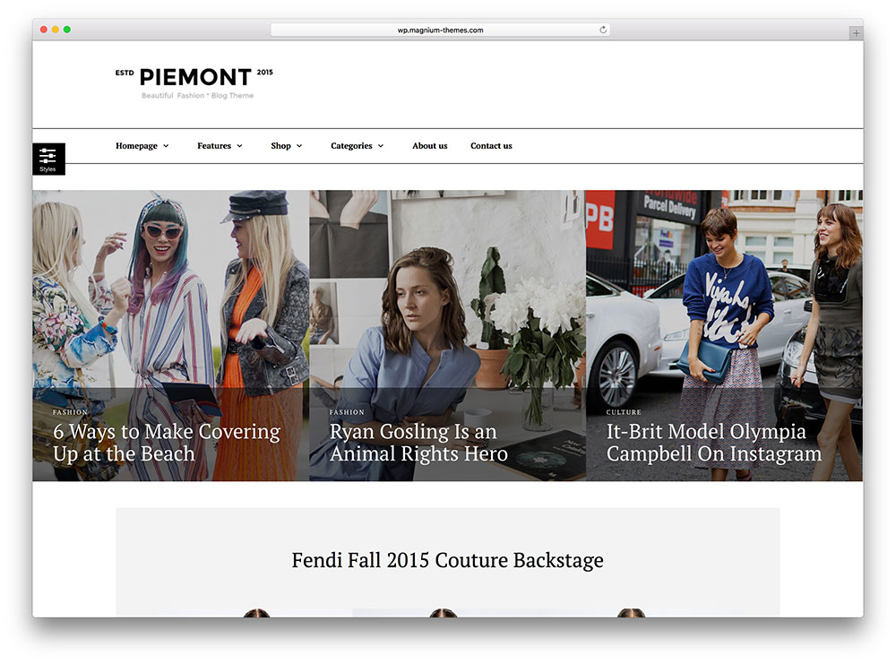 piemont - simple fashion blog theme