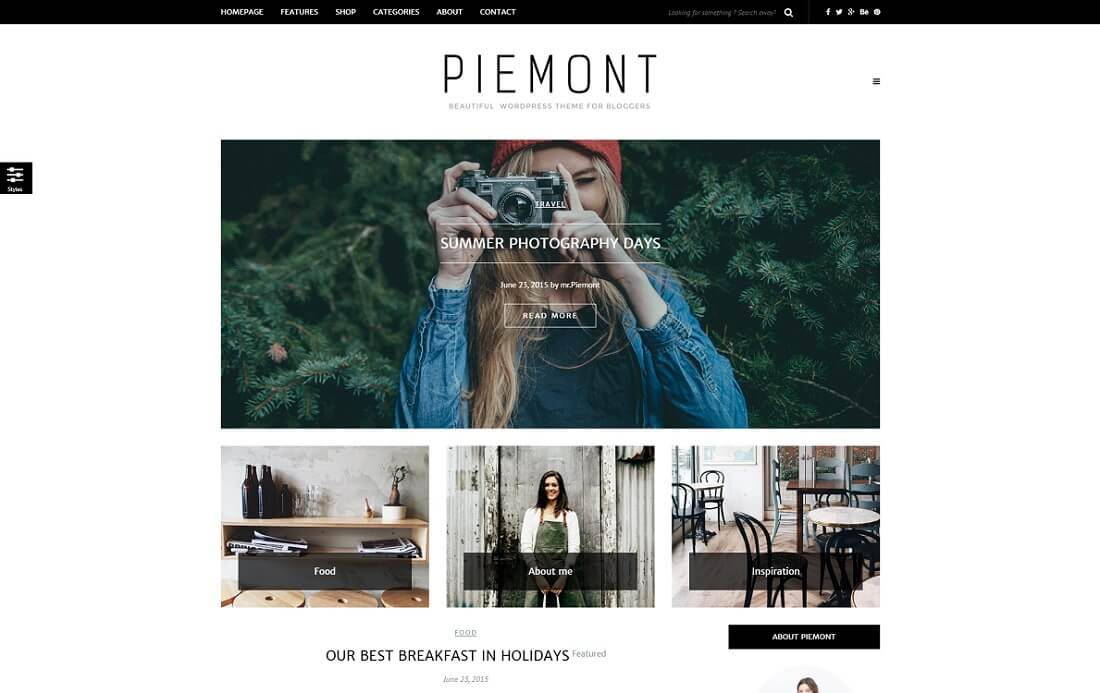 piemont wordpress instagram theme