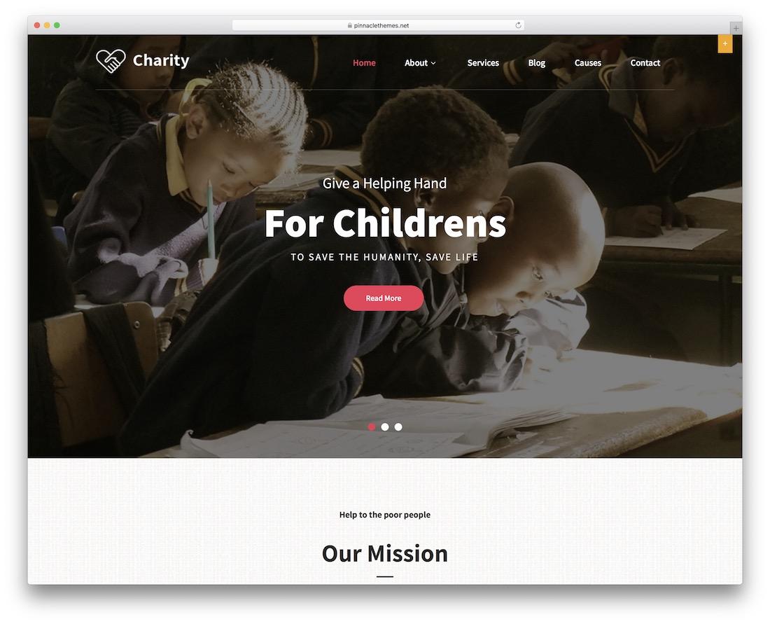 pin charity free wordpress theme