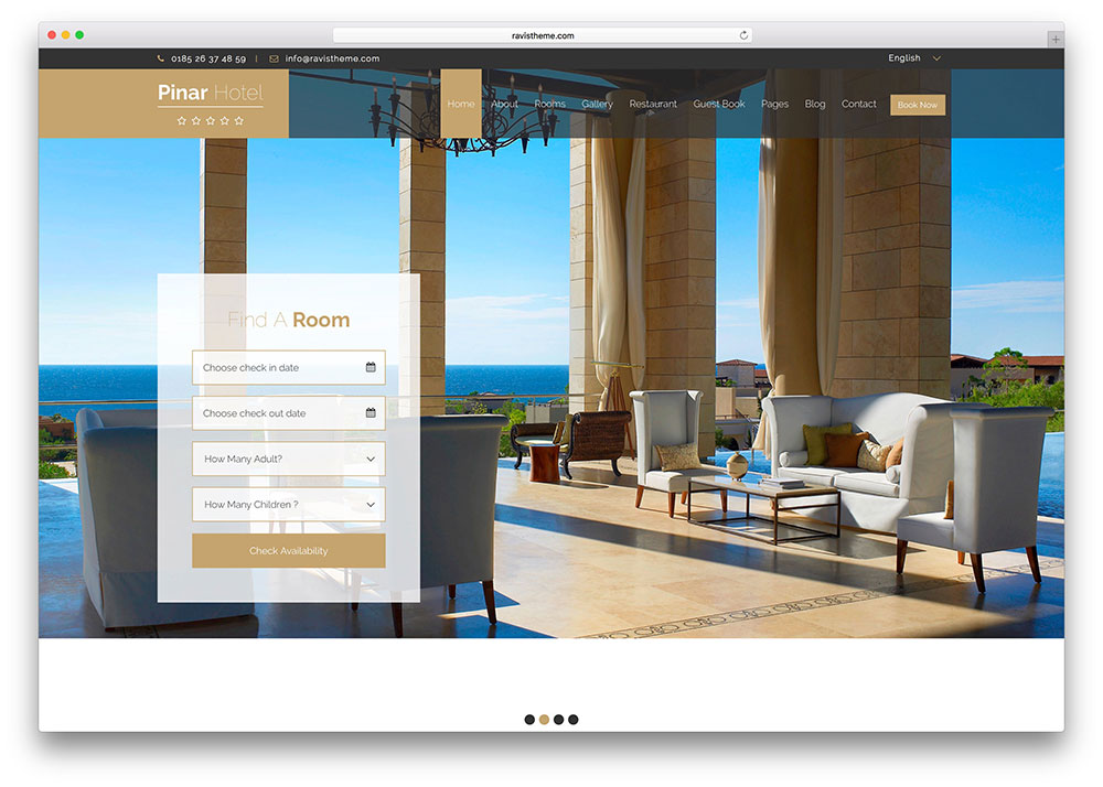 Pinar Luxury Hotel Booking 5 Site Template