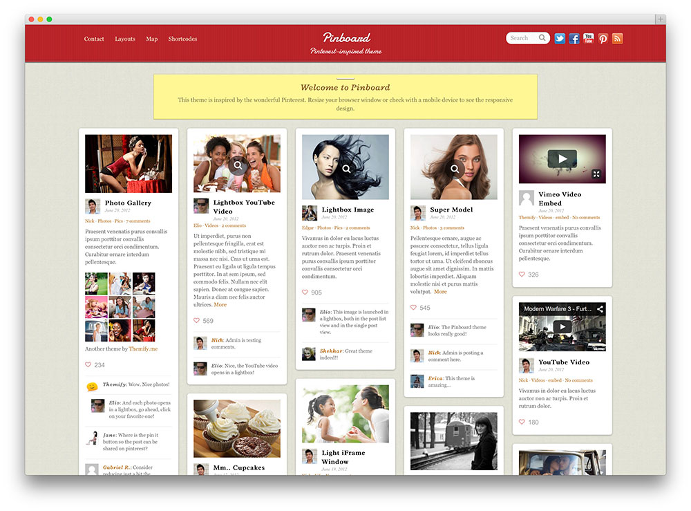 pinboard clean grid blog theme