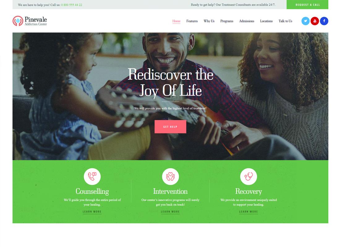 Pinevale - Addiction Recovery and Rehabilitation Center WordPress Theme