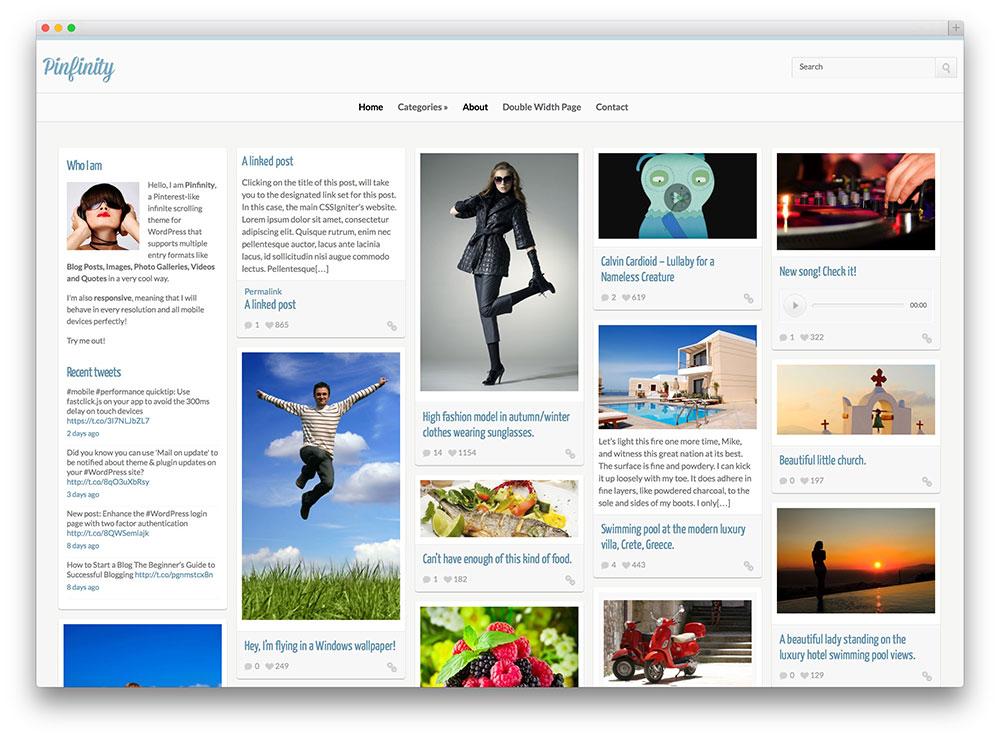 pinfinity pinterest inspired WordPress theme