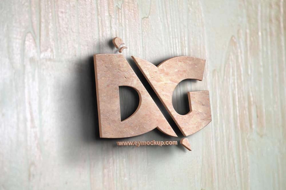 pink wood logo mockup