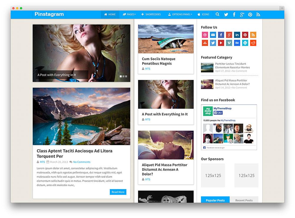 pinstagram stylish blog theme
