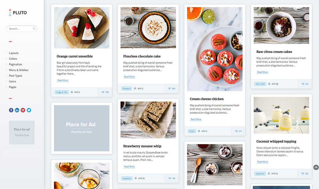 Beautifull And Responsive Pinterest Style WordPress Themes For Portfolio, Business And Blog Sites