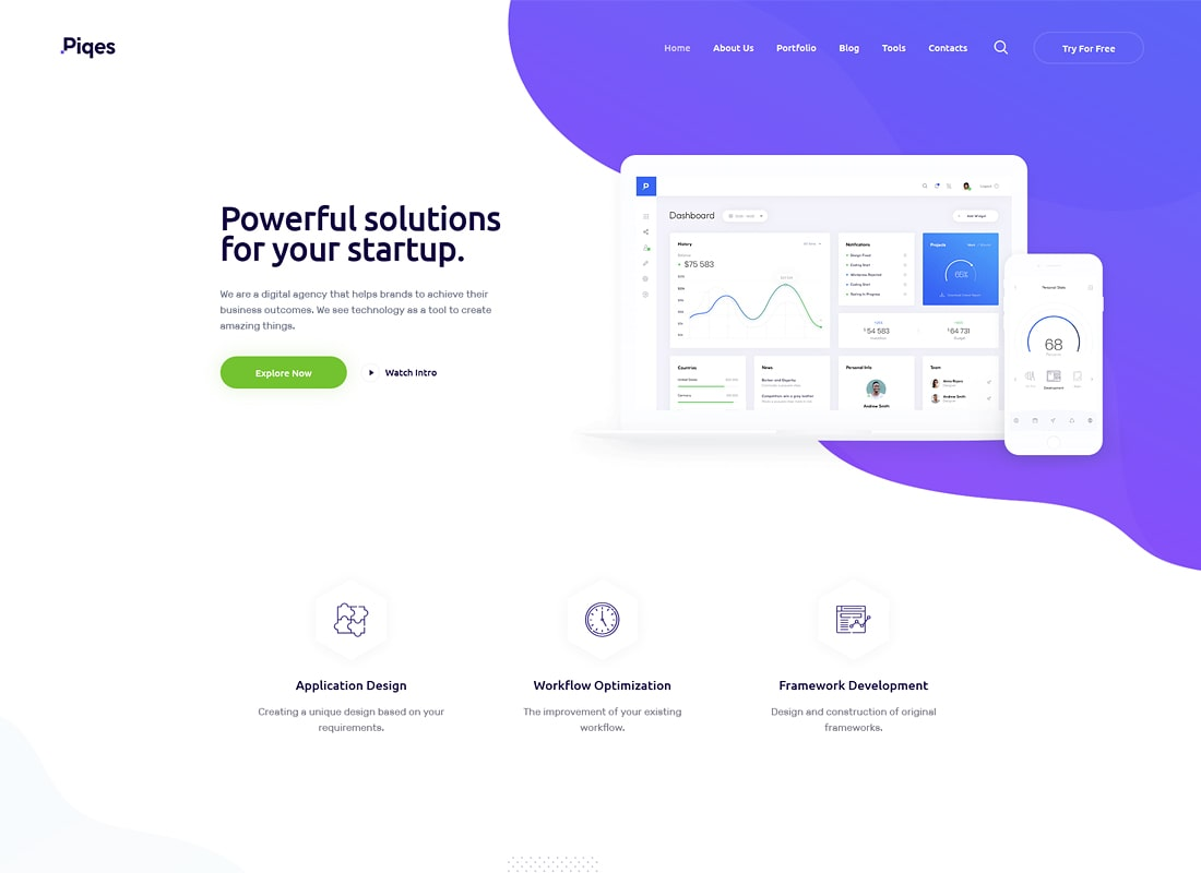 Piqes | Creative Startup & Agency WordPress Theme