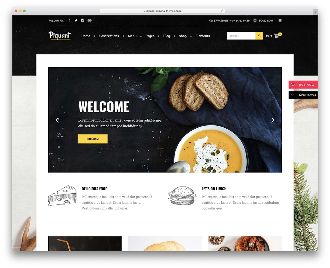 piquant wordpress restaurant theme