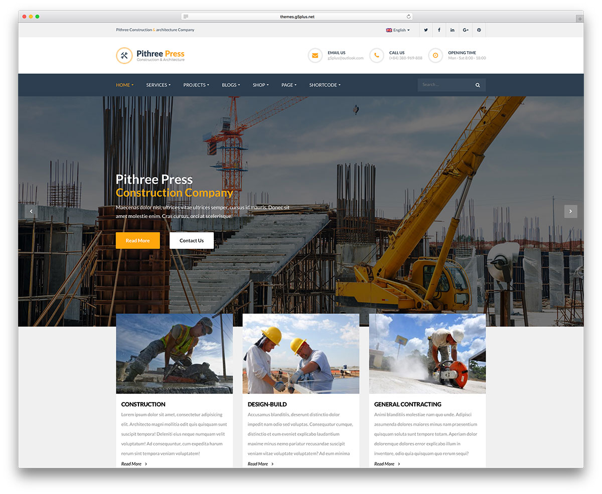 Pithree – Construction and Building WordPress Theme