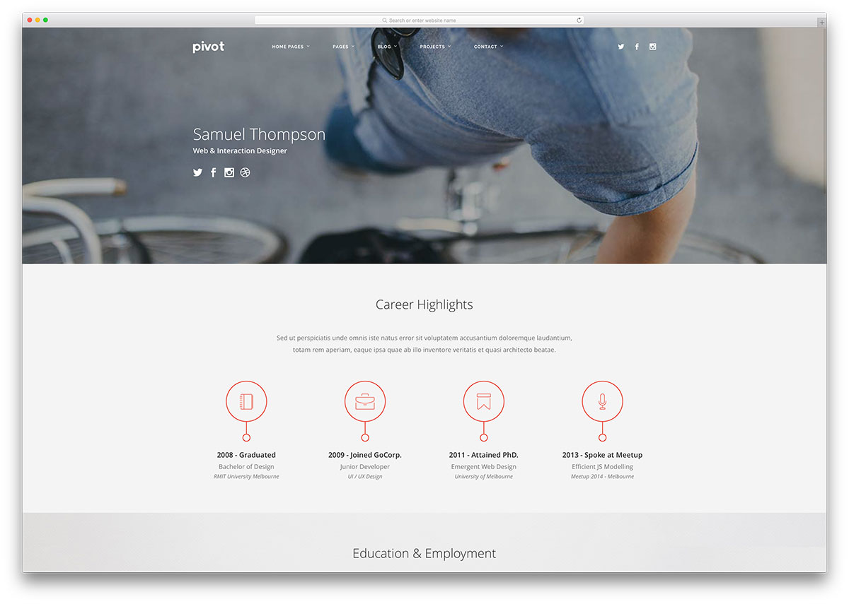 15 best html5 vcard and resume templates for your personal online pivot multipurpose html resume website template yelopaper Gallery