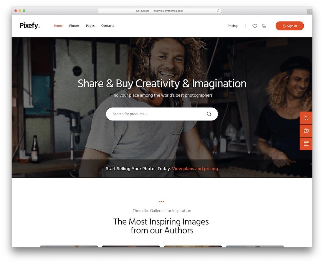 pixefy photo sharing wordpress theme
