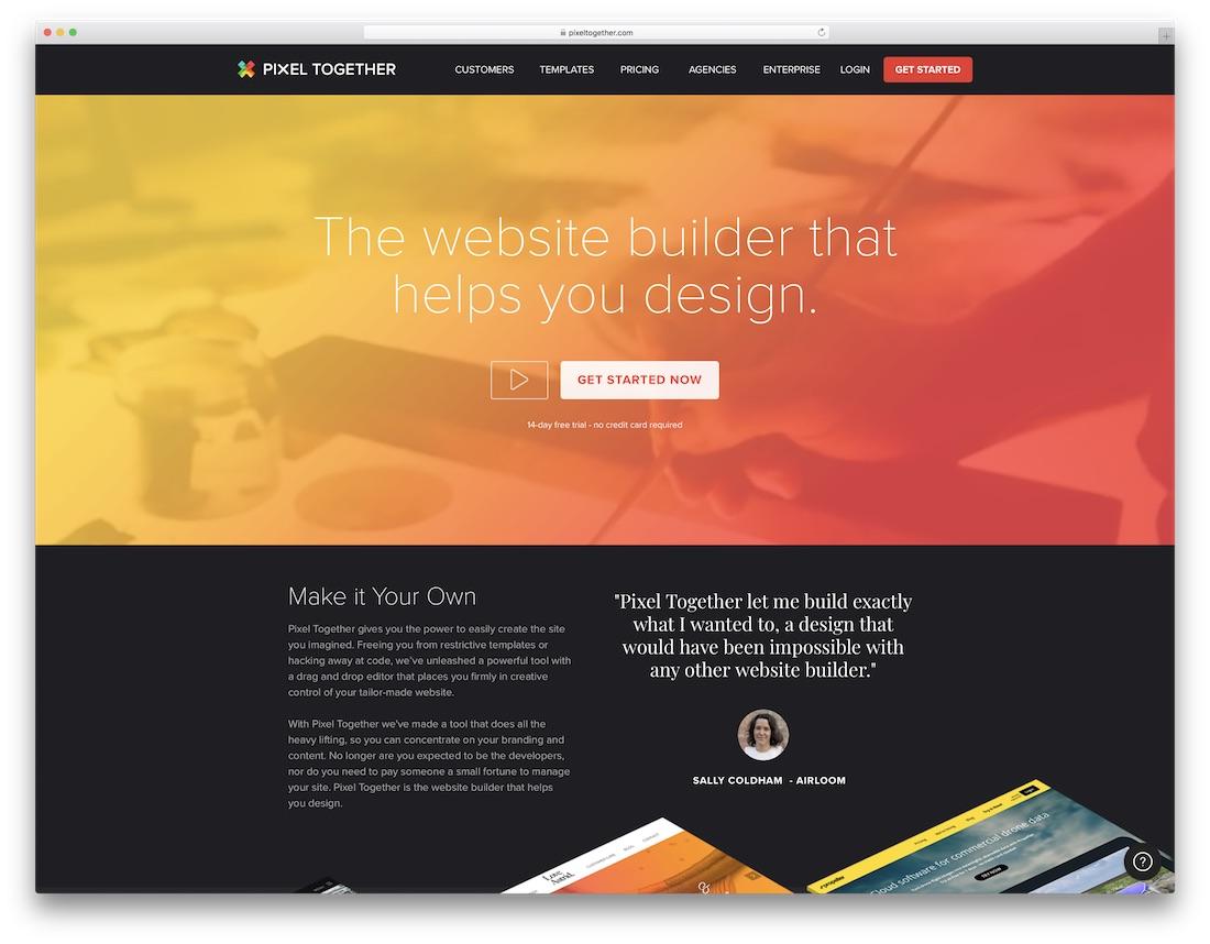 pixel together website builder for designers