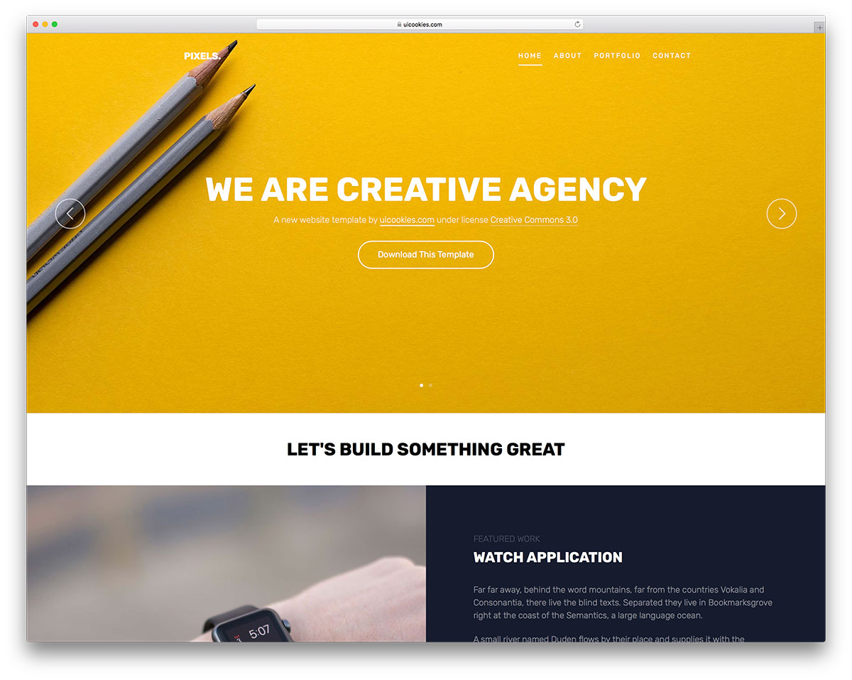 creative individuals as well as agencies pixels is the free html website template that makes you a web space of course a tiny bit of elbow grease is - Html Templates Free Download