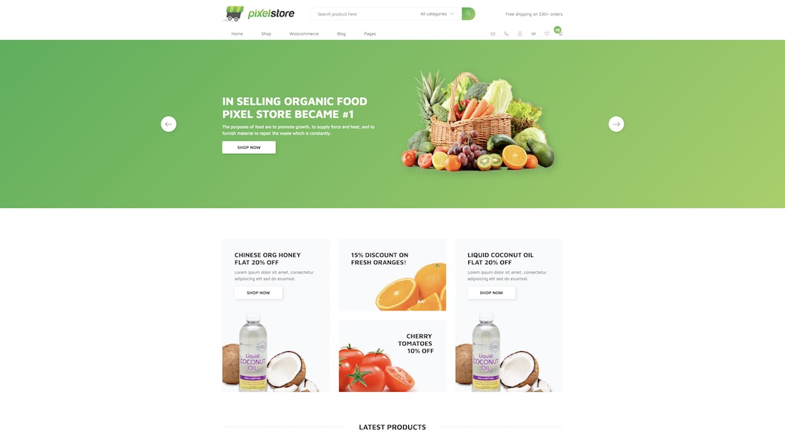 pixelstore ecommerce website template