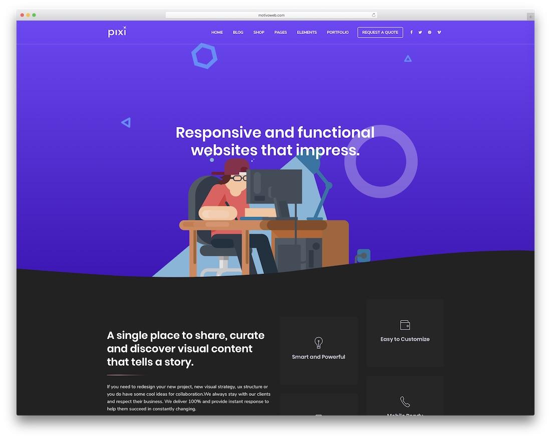 pixi easy to use wordpress theme