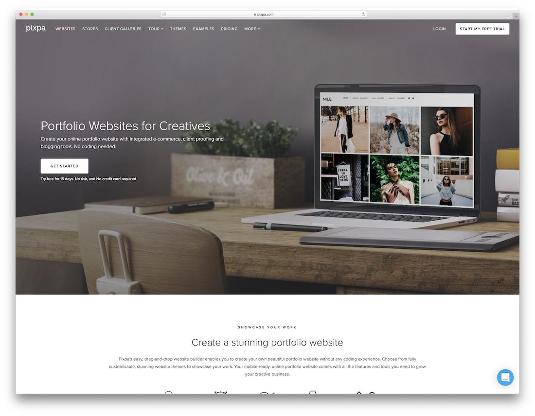 pixpa best portfolio website builder