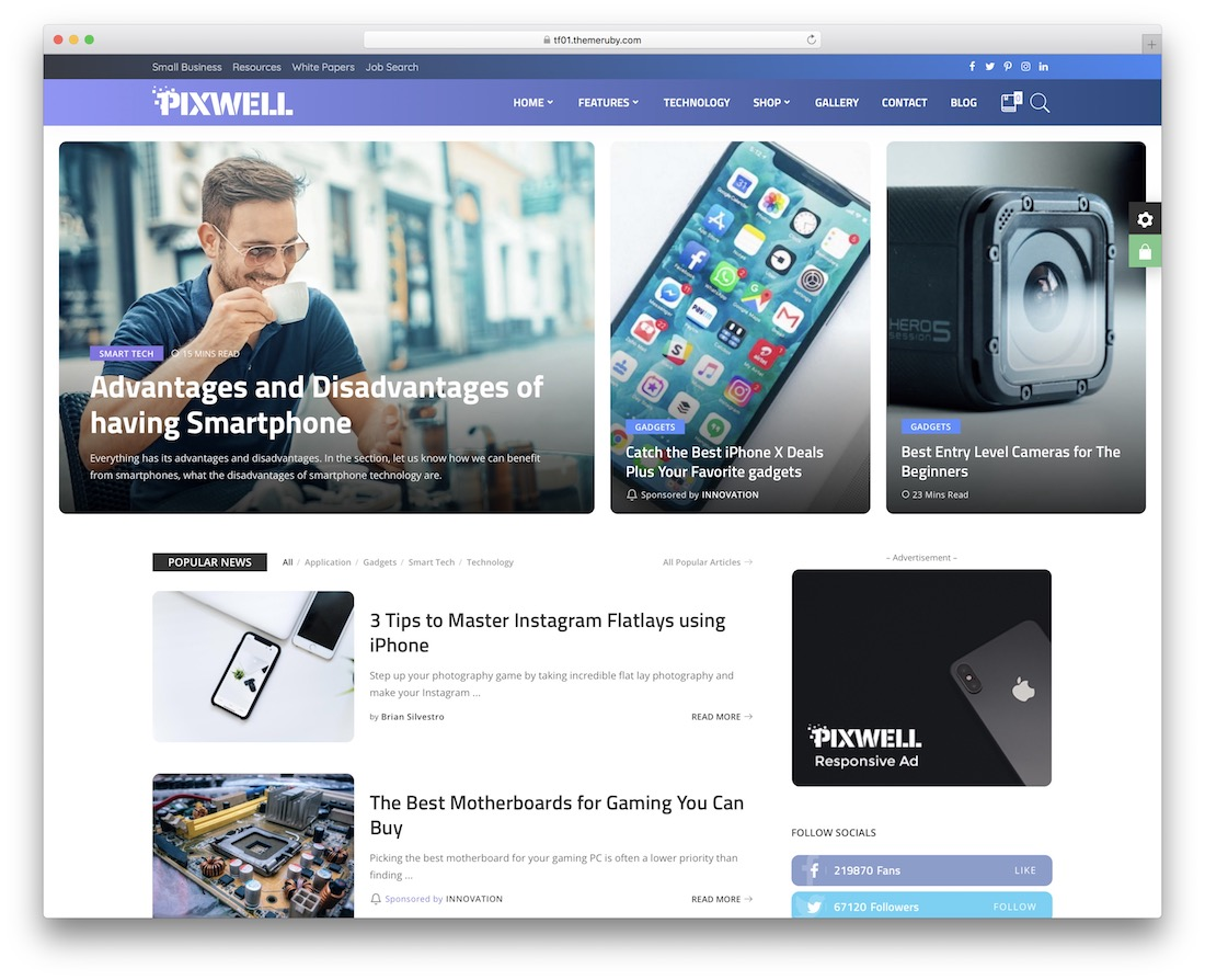 pixwell technology news wordpress theme