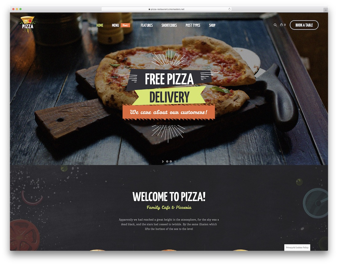 피자 레스토랑 피자 하우스 WordPress에 테마