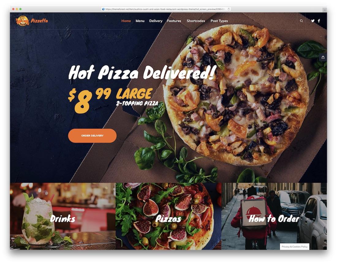 pizzeta food delivery wordpress theme