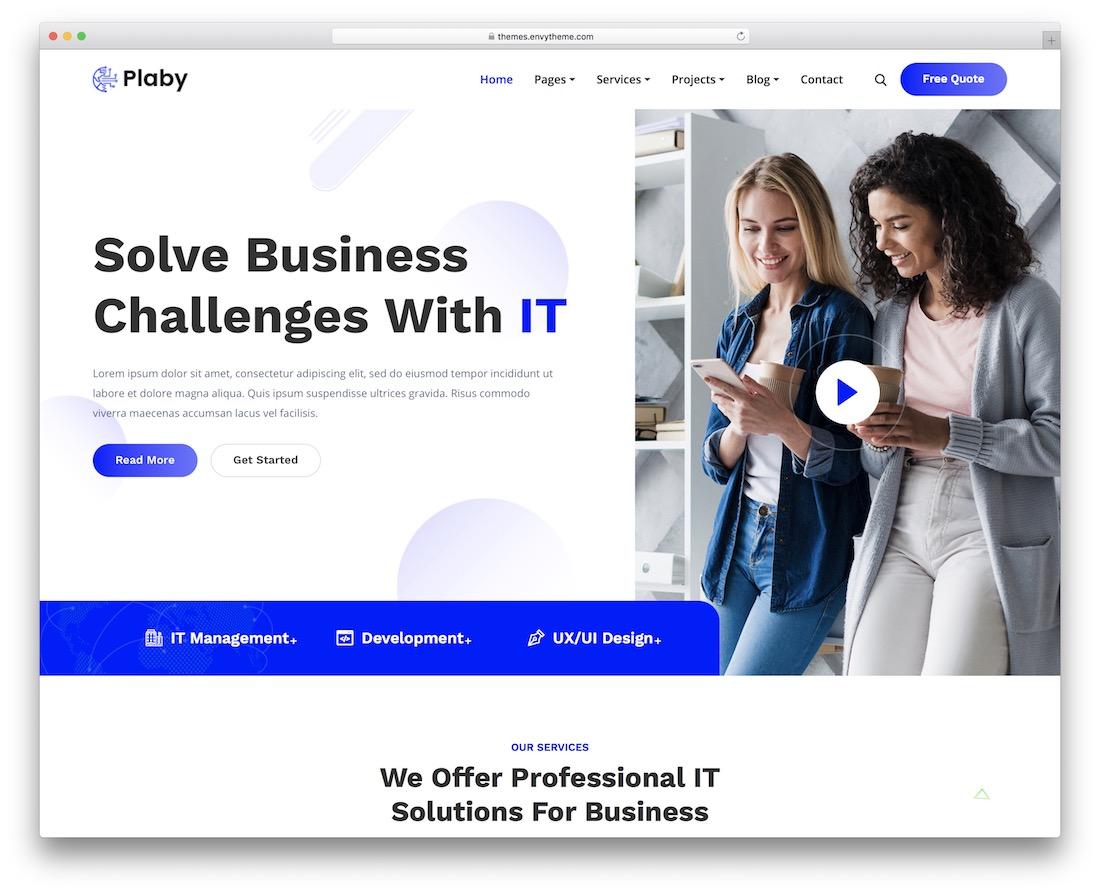 plaby wordpress technology theme