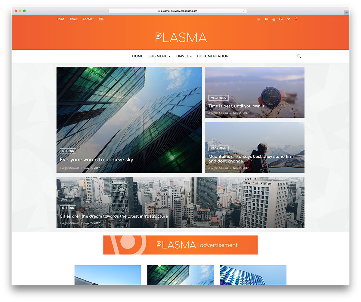 Demonstração Templates Plasma Responsivo para Blogs 2018