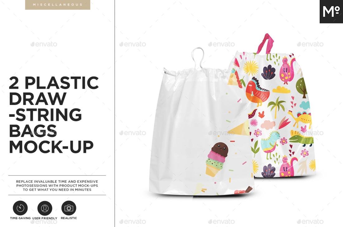 plastic drawstring bags mockup