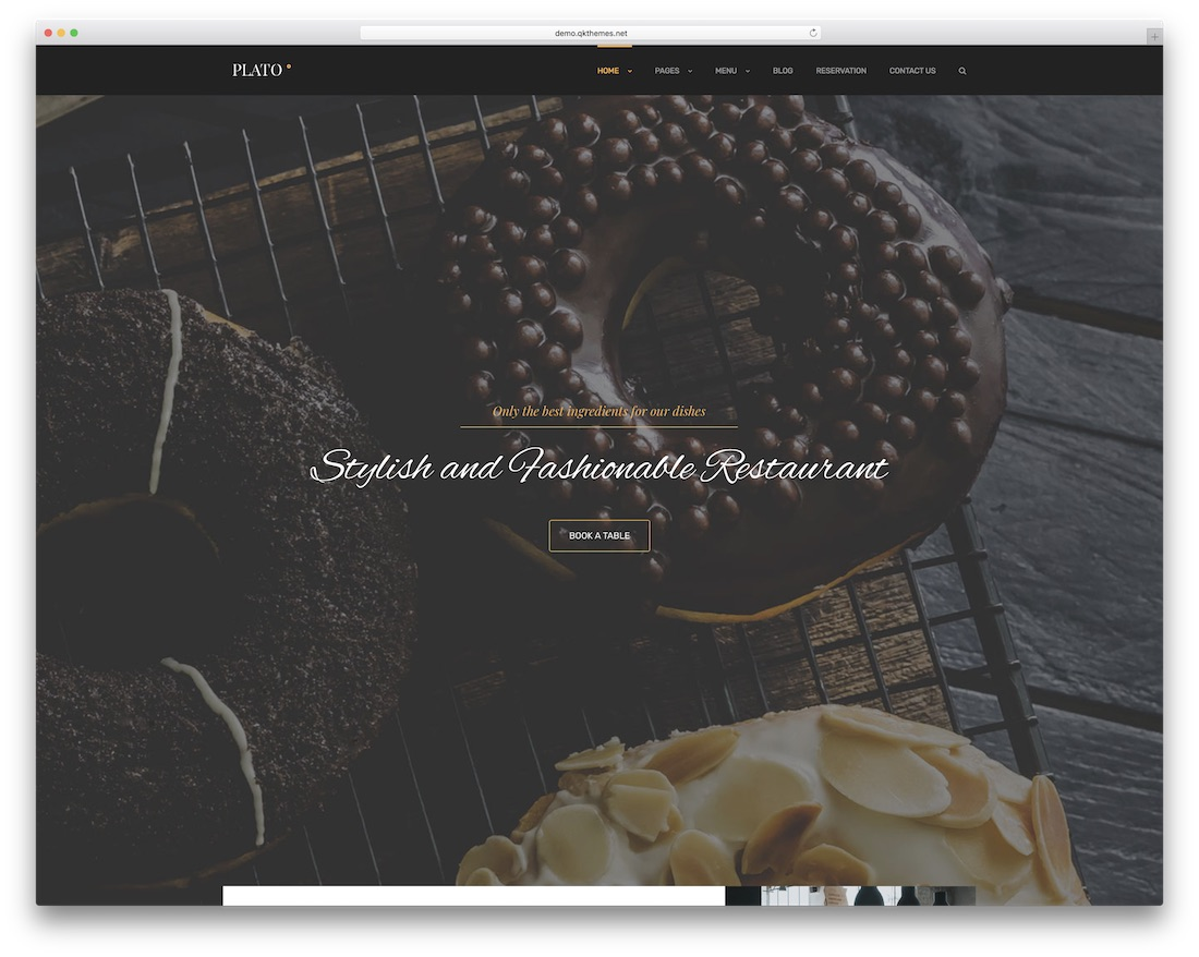 plato wordpress restaurant theme