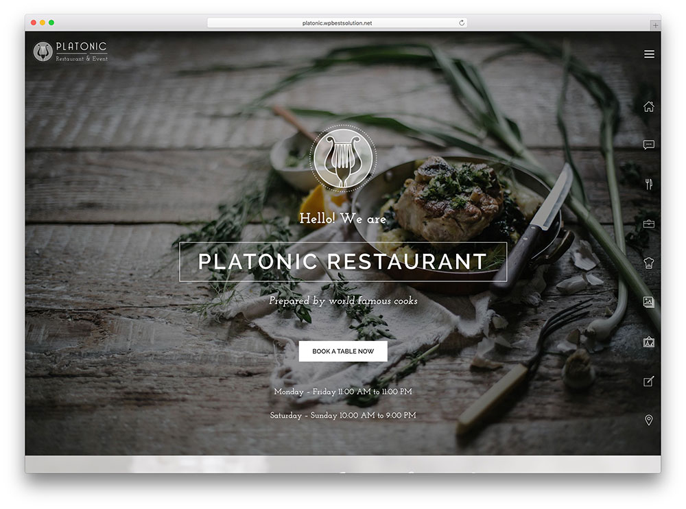 platonic - fullscreen restaurant theme