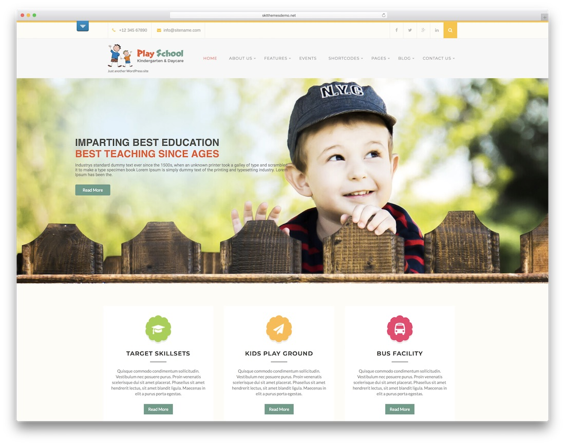 play school free website template