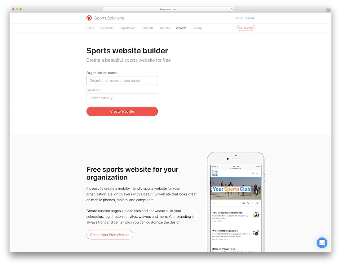 playpass sports website builder