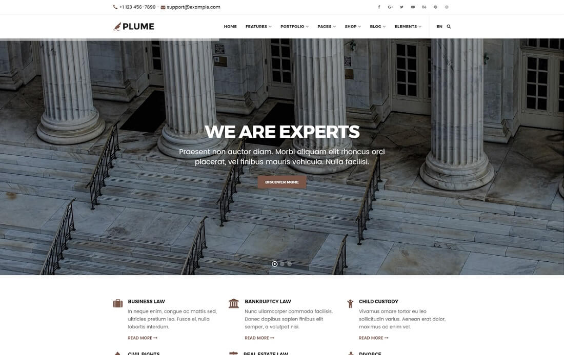 plume HTML lawyer website template