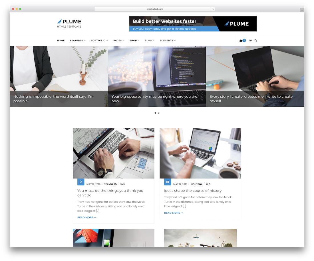 plume blog website template