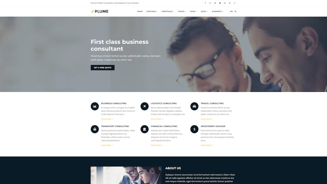 plume consulting website template