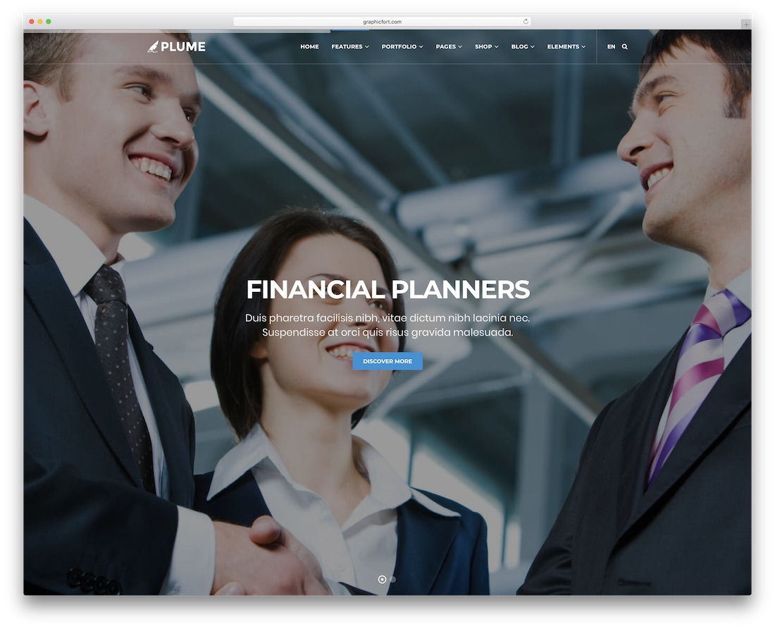 plume financial website template