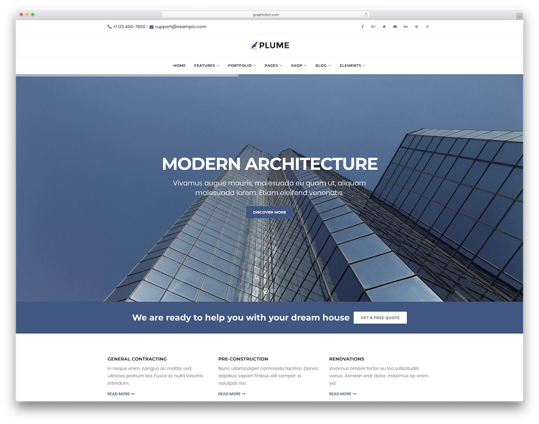 plume html construction company template