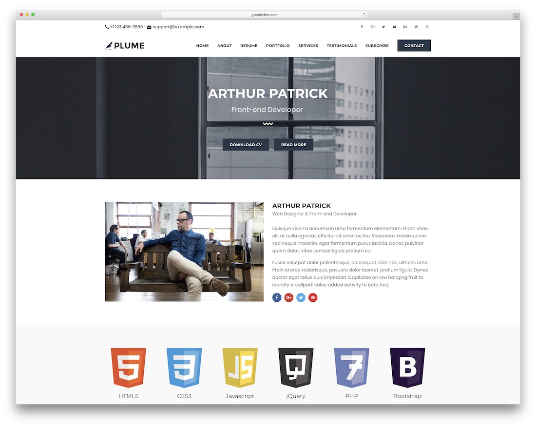 plume html resume cv website template