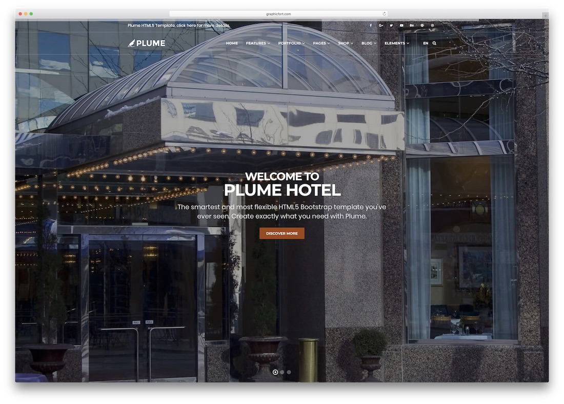 plume html5 hotel website template
