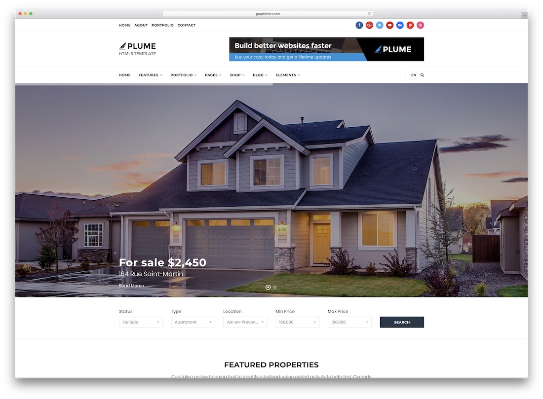 plume real estate website template
