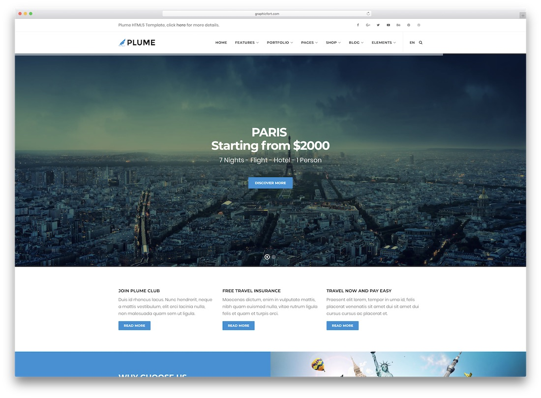 plume travel website template