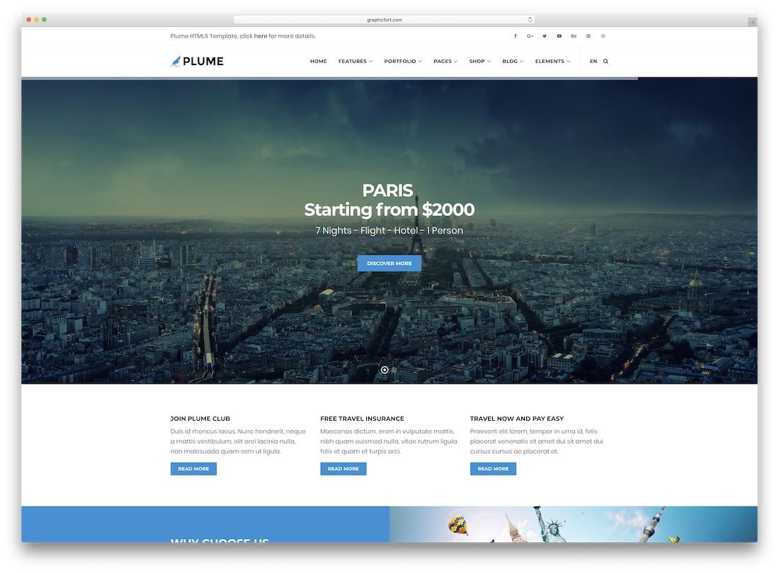 plume travel website template