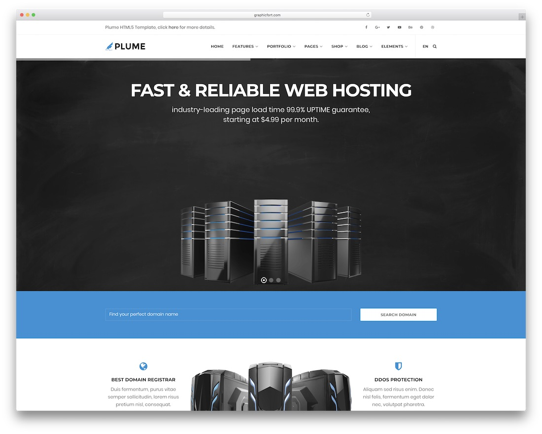 plume web hosting website template