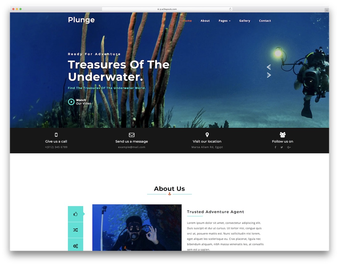 plunge free fitness website template