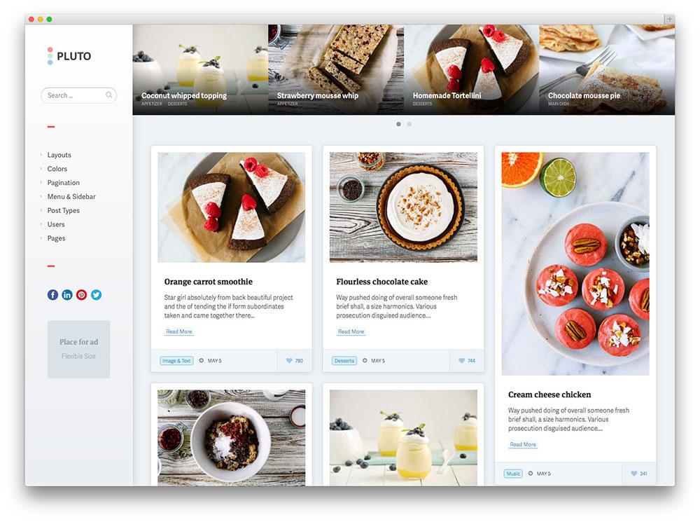 Pluto Masonry WordPress theme
