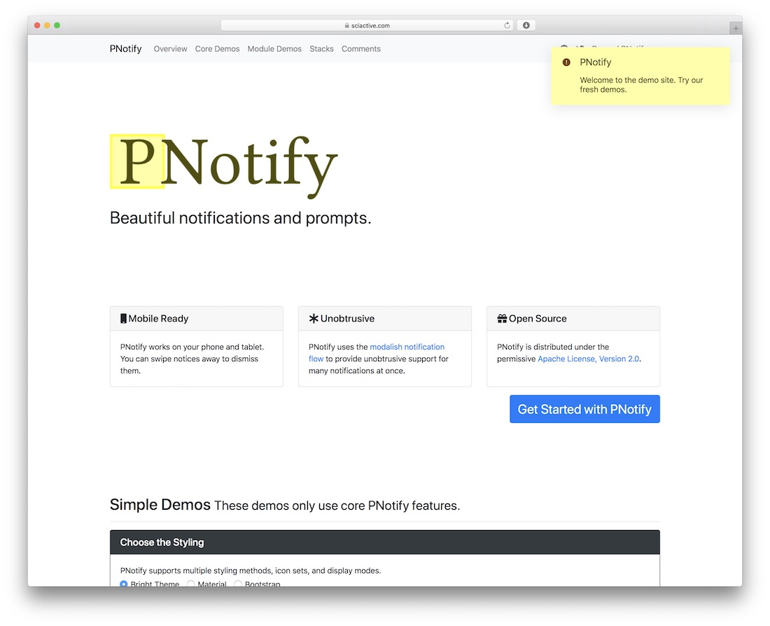 pnotify jquery notification plugin