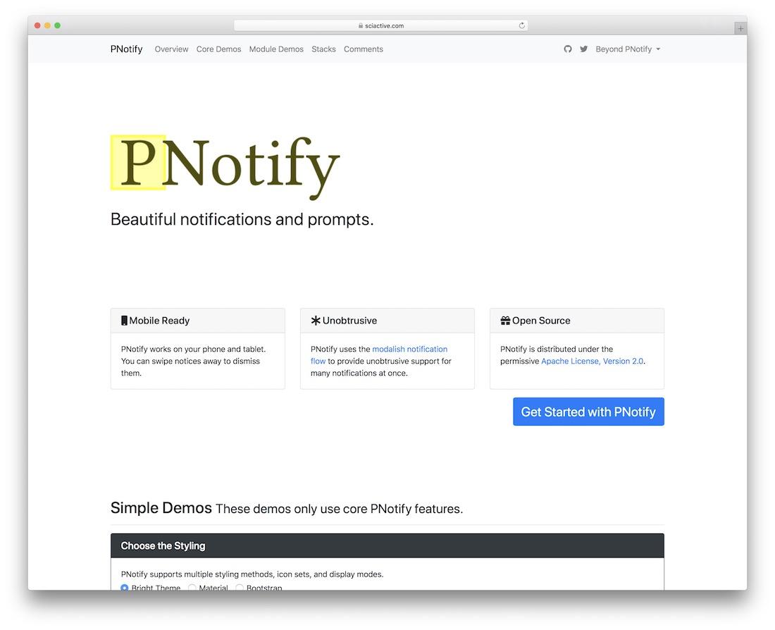 pnotify jquery plugin
