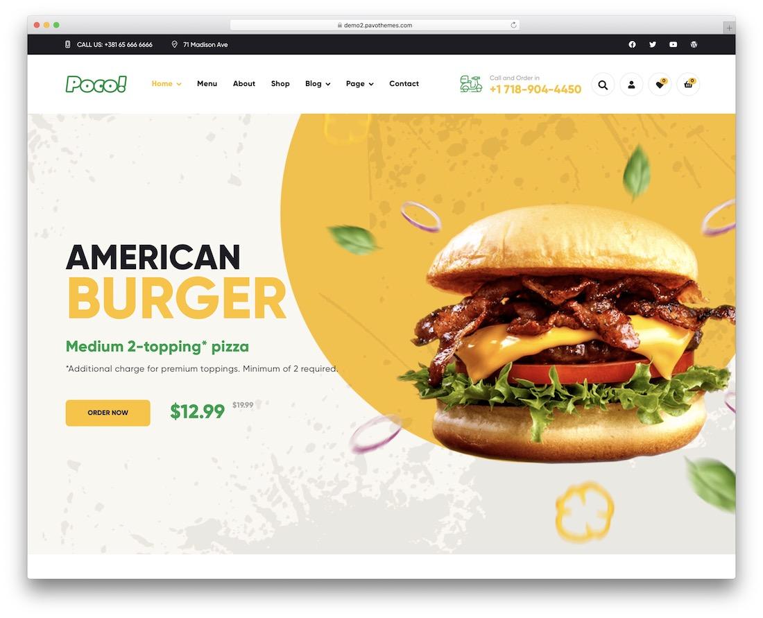 poco food wordpress theme