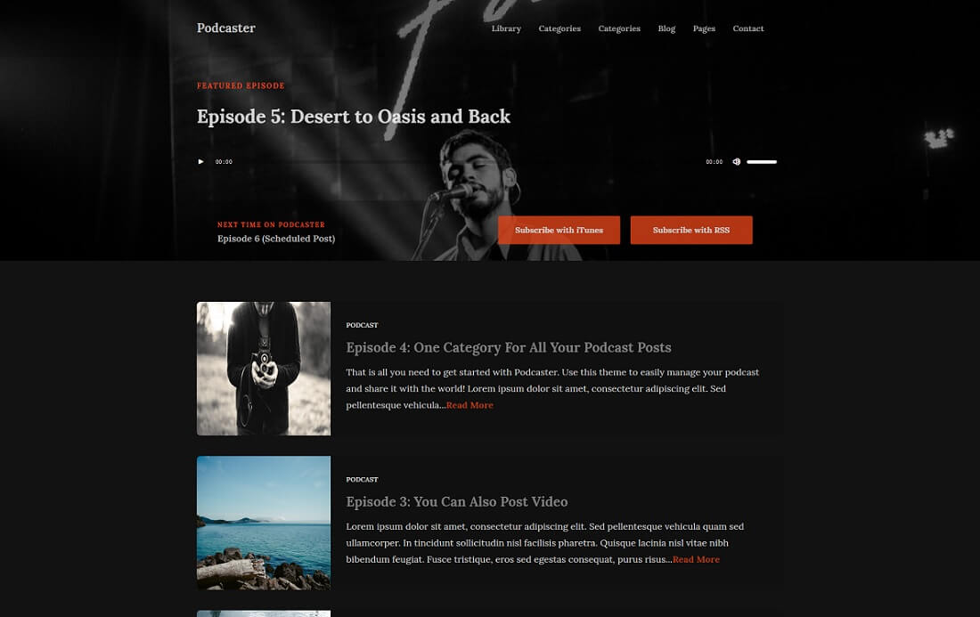 podcaster multimedia wordpress theme