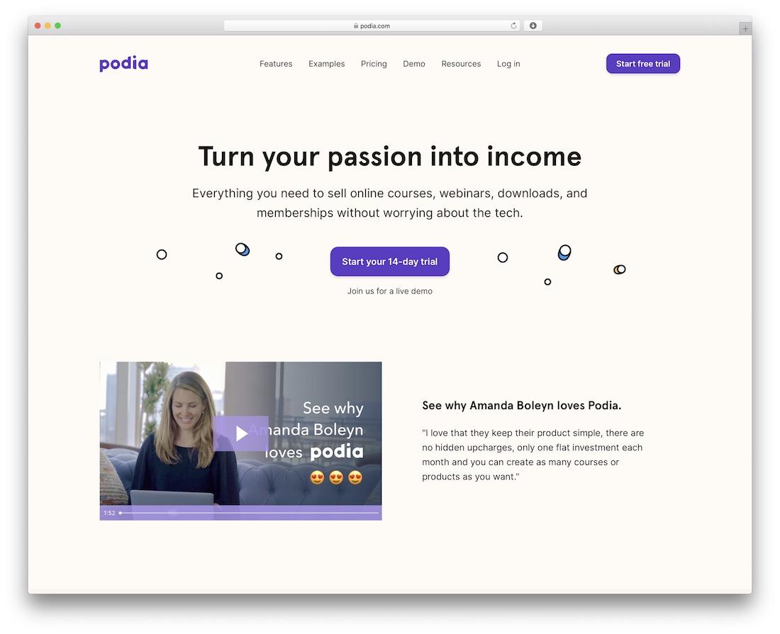 podia platform for selling courses webinars