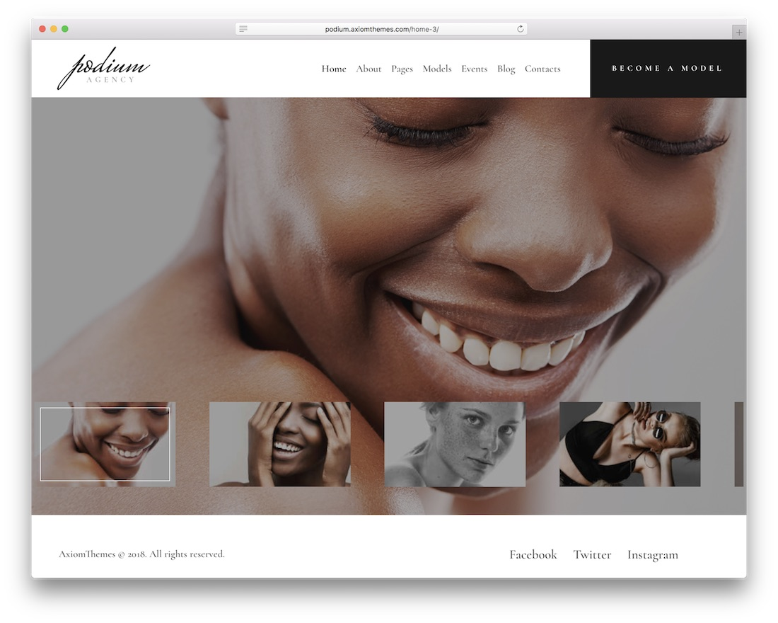 podium model agency wordpress theme