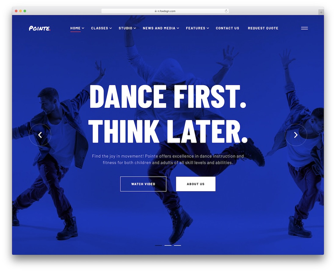 pointe wordpress theme for dance studios